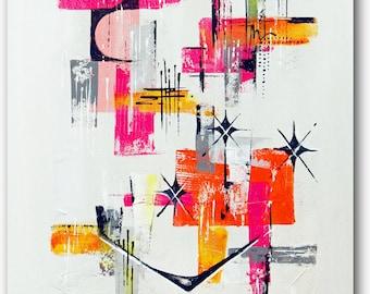 Original midcentury modern abstract starburst art, retro midmod wall art, atomic boomerang pink orange