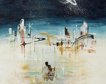 Original Midcentury modern abstract art, retro space art, midcentury cosmic art, modern retro, midmod utopia