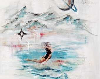 Original Midcentury modern abstract art, vintage travel, woman swim, sky dip, surreal Palm Springs art, modern retro