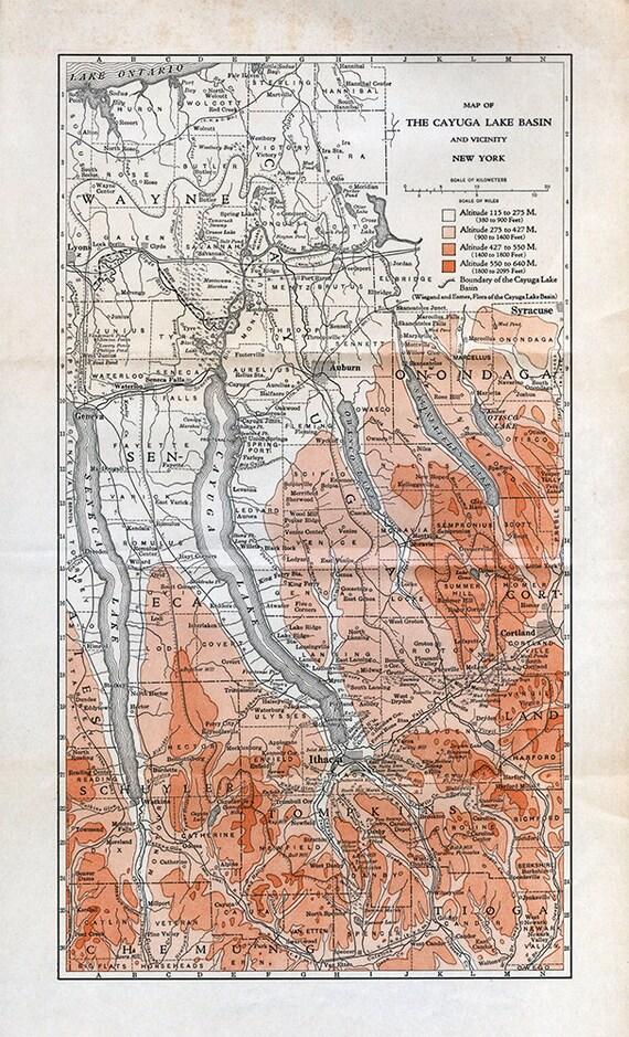 Map Of New York Finger Lakes.Cayuga Basin Map Finger Lakes New York