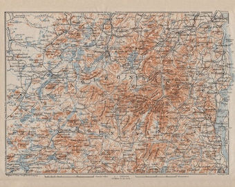 Adirondack Mountains - reprint of vintage map