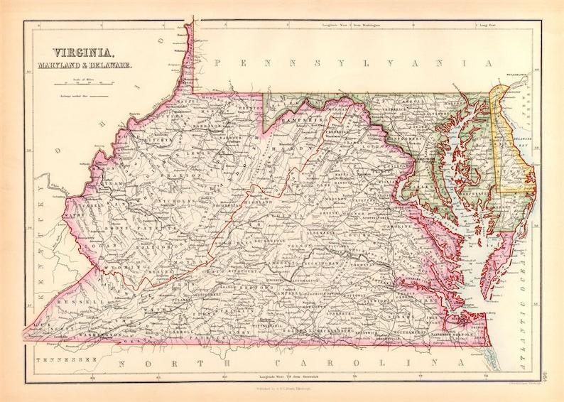 Map Of Virginia Maryland Delaware 1867 Etsy
