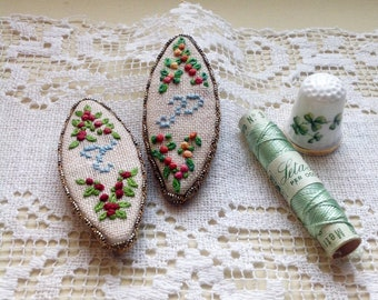Magnets with embroidered and hand-made initials