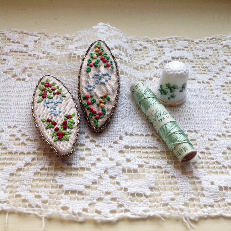 Magnets with embroidered and hand-made initials image 0