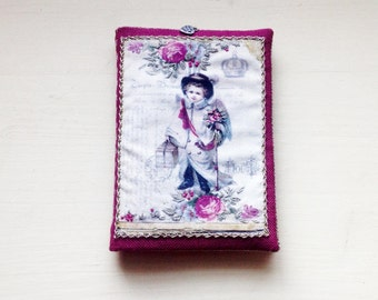 Needle door with Victorian angel, hand embroidered, printed on cotton.