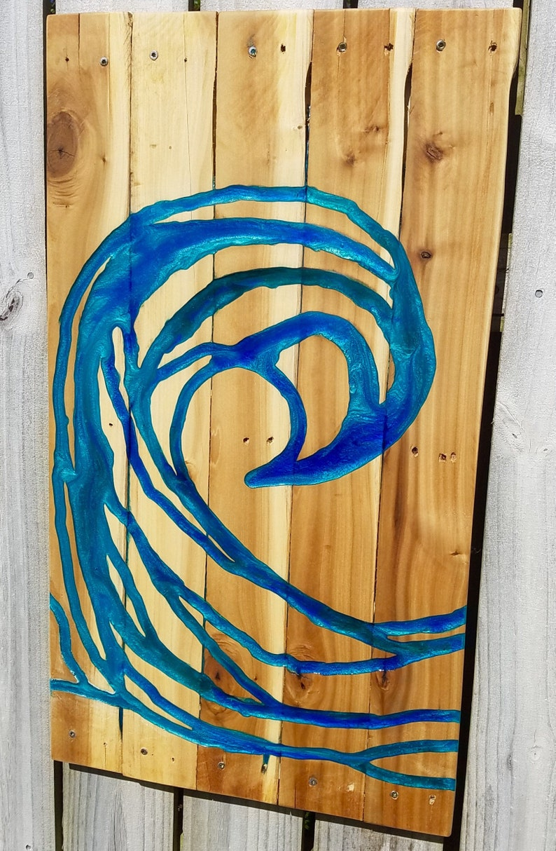 Resin On Wood Wave Abstract