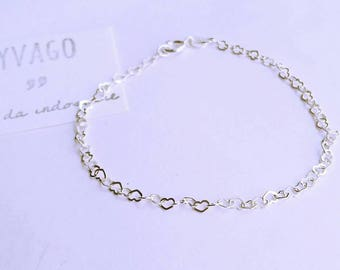 Bracelet with hearts chain in silver 925