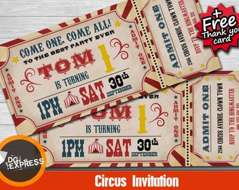circus invitation etsy