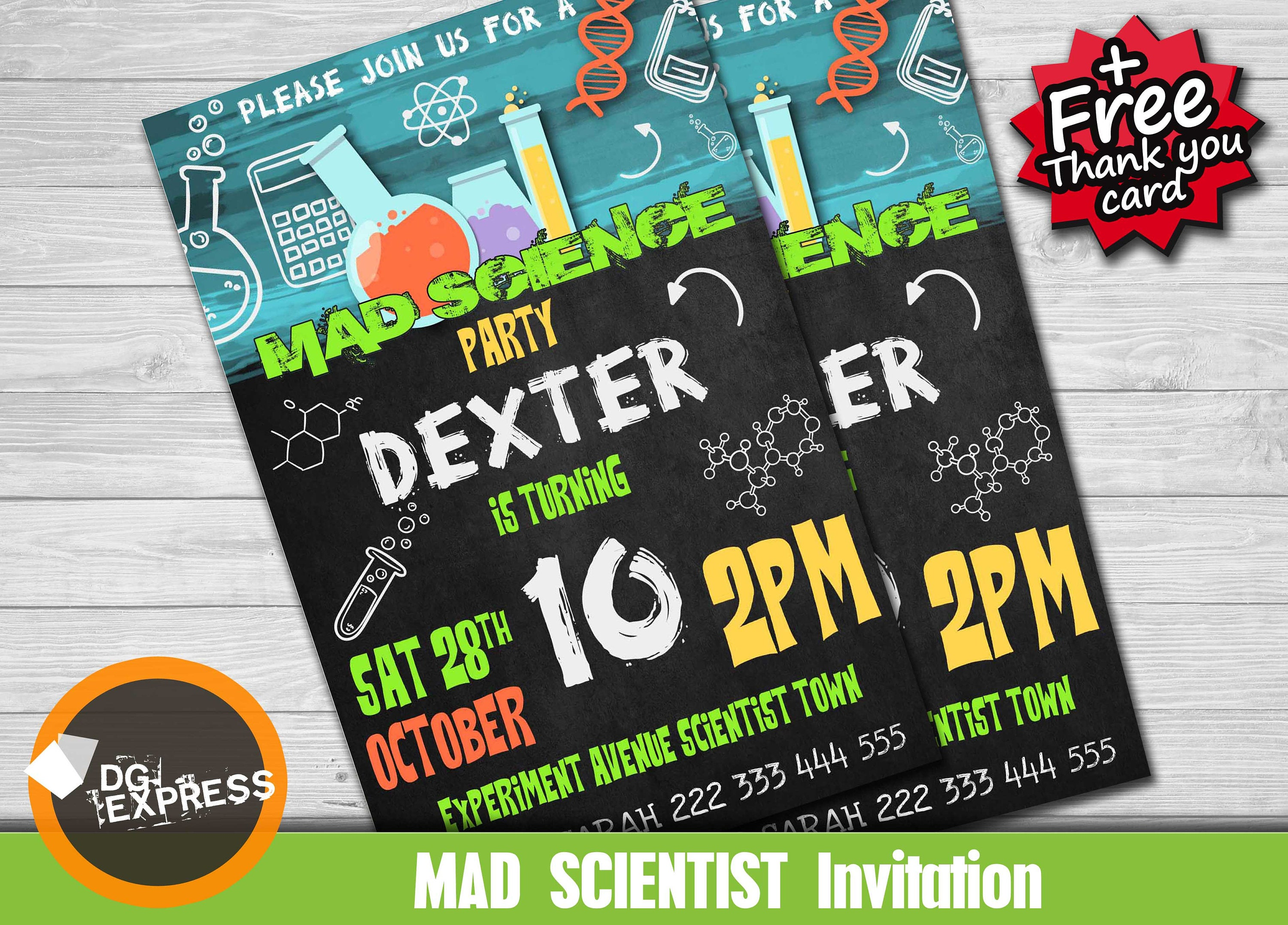 Science Party Invitation Mad Science Birthday Etsy