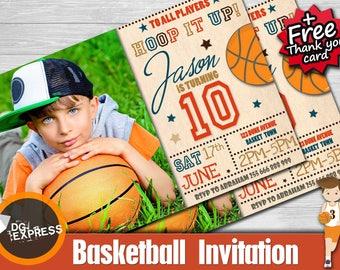 """Basketball Invitation photo- """"BASKETBALL BIRTHDAY INVITATION"""" Digital Basketball Party Invite, Basketball Birthday Printable"""
