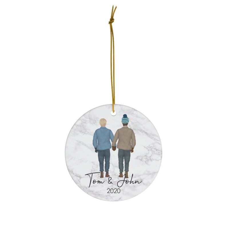 Xmas Gift for Gay Couple Boyfriend LGBTQ Wedding Ornament 1st Christmas as Couple Keepsake Personalized Gay Couple Christmas Ornament