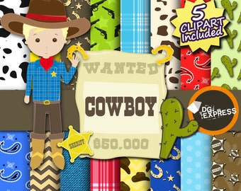 "SALE Cowboy Digital Paper + Clipart : ""Cowboy Digital Paper"" - Western Digital Paper, Cowboy Birthday Invitation, Cowboy Printable"
