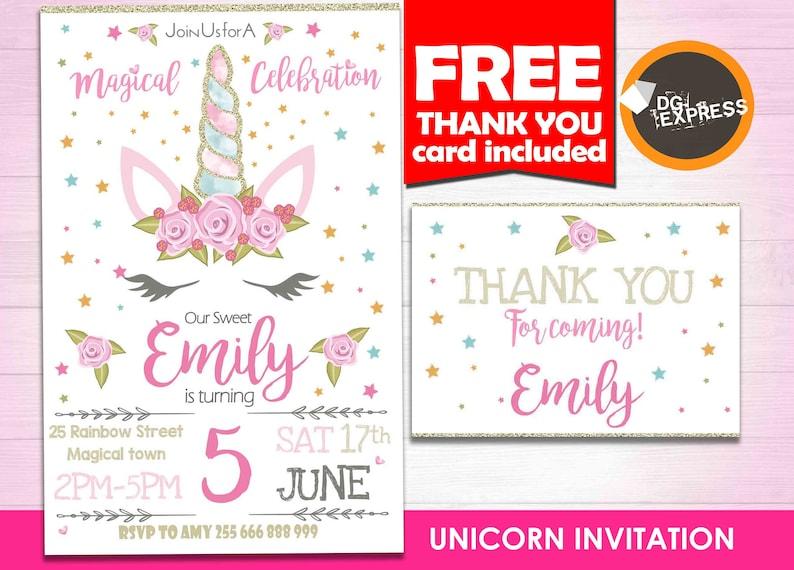Unicorn Invitation UNICORN BIRTHDAY INVITATION