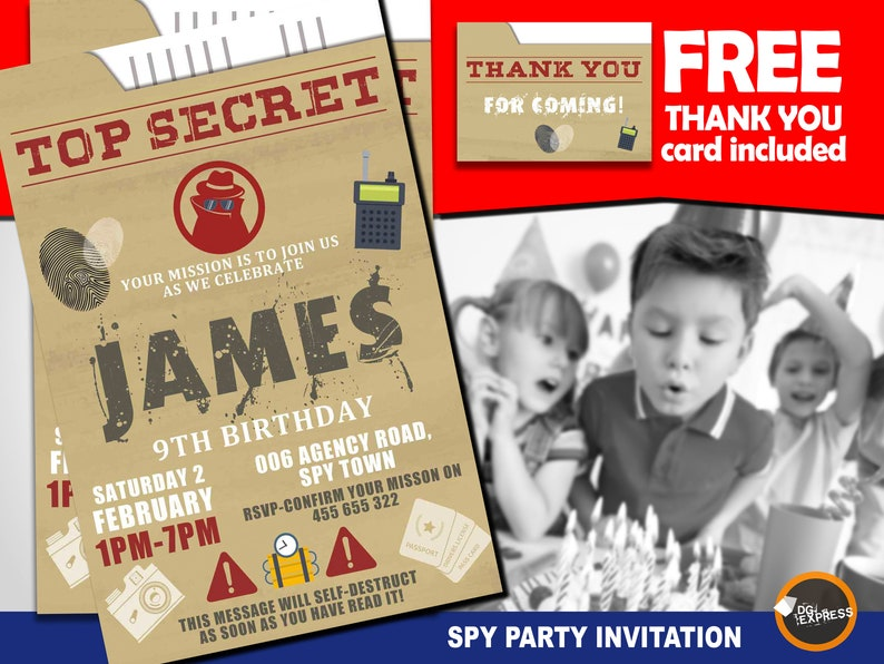graphic relating to Spy Party Invitations Printable Free identified as Spy Occasion Invitation \