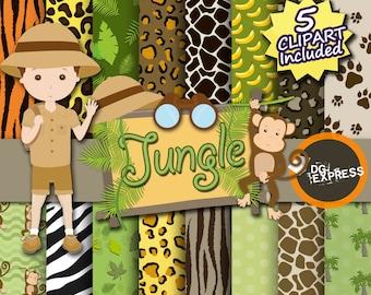 "Animal Print Digital Paper + Clipart : ""African Paper""- Zebra, Tiger, Giraffe Pattern, Digital Papel, Commercial Use, Instant Download"