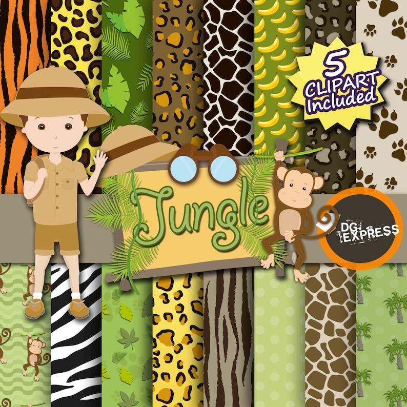 Jungle Digital Paper  Clipart : Jungle Digital image 0
