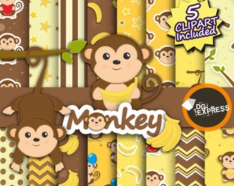"""Monkey Clipart + Digital Paper : """"Monkey Digital Paper"""" - Animal Clipart, Baby Monkey Boy Party Invite, Jungle Commercial Use, Scrapbook"""