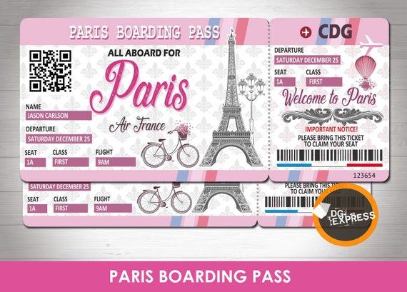 Paris Air Ticket Birthday Invitation Boarding Pass Invitation