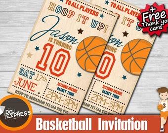 "Basketball Invitation- ""BASKETBALL BIRTHDAY INVITATION"" Digital Basketball Party Invite, Basketball Birthday Printable, Sports Chalkboard"