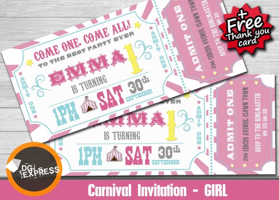 Pink Carnival Invitation PINK CARNIVAL Birthday