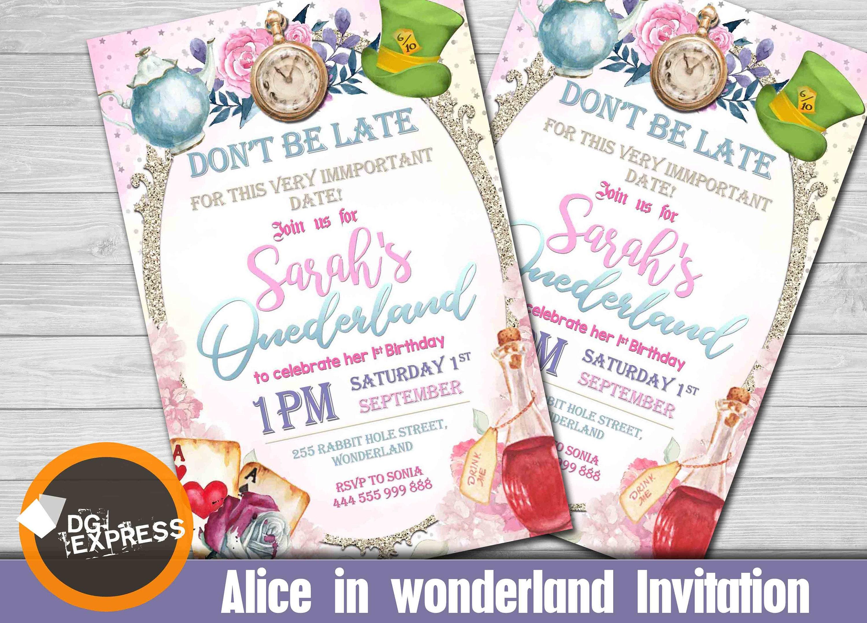 Alice in Onederland Birthday Invitation ALICE   Etsy