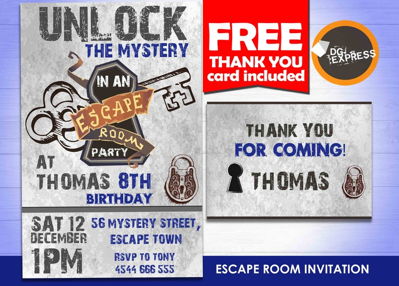 photo relating to Free Escape Room Printable identified as Escape House match Invitation - \