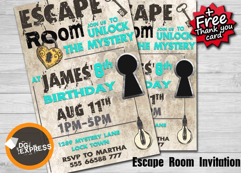 Escape Room Teal Invitation Escape Room Birthday Etsy
