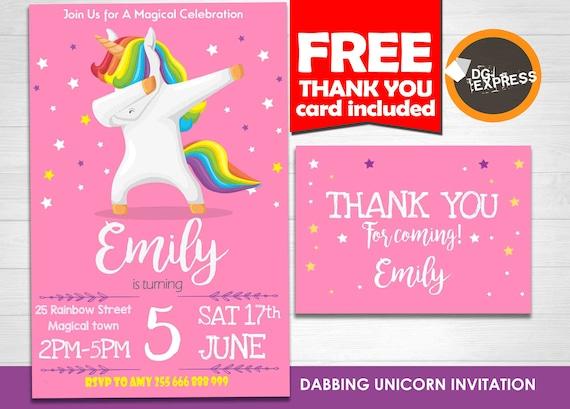 Dabbing Unicorn Invitation Unicorn Birthday Invitation Rainbow Whimsical Unicorn Party Invite Magical Unicorn Pink Princess Printable