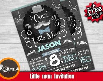 """Little man Invitation - """"LITTLE MAN MUSTACHE Birthday Invitation""""  Little Man Birthday Printable, Bow Tie First Birthday Mustache Digital"""