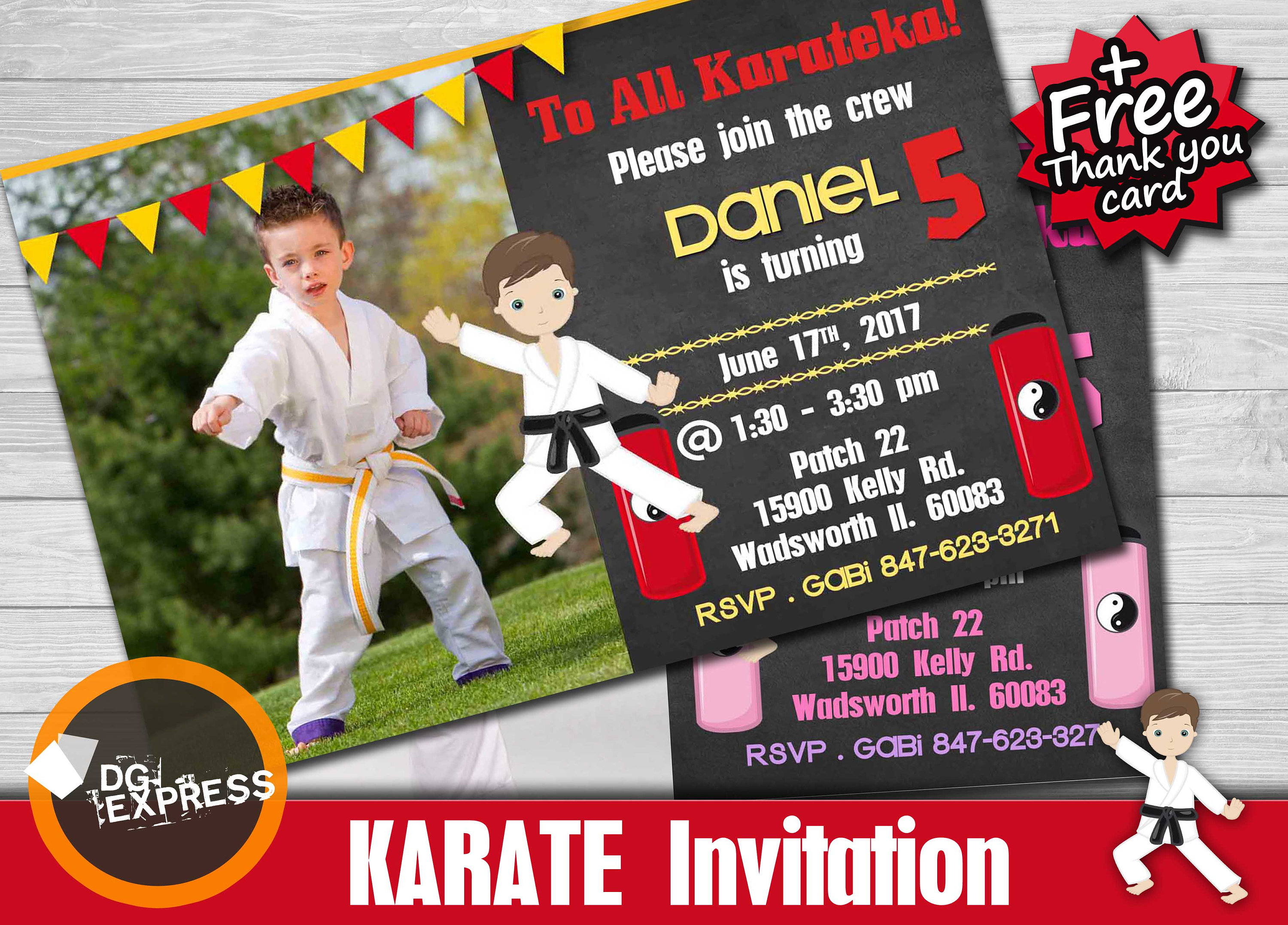 Karate Birthday Invitation Photo KARATE | Etsy
