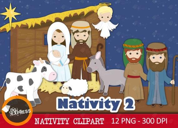 Sprzedaż Narodzenia Clipart Narodziny Jezusa Etsy