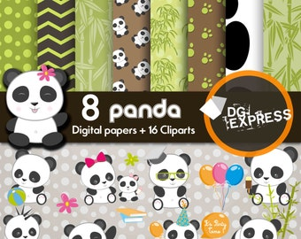 "Panda Clipart and Digital Paper : ""PANDA DIGITAL Paper"" - Panda Clip art, Panda Scrapbook Paper, Panda Invitations Invite, Zen Clipart"