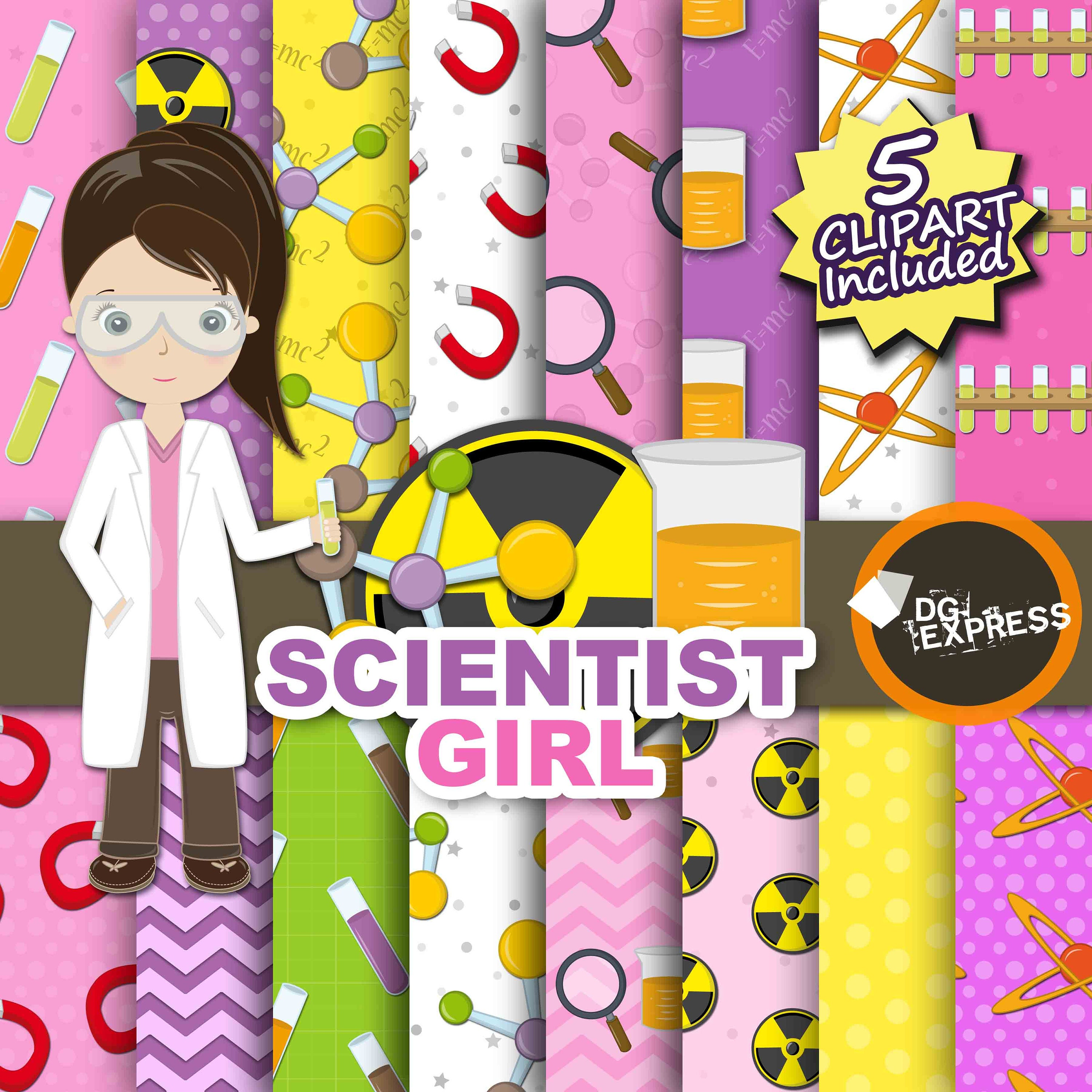 SALE Science Digital Paper Clipart : Science girl | Etsy