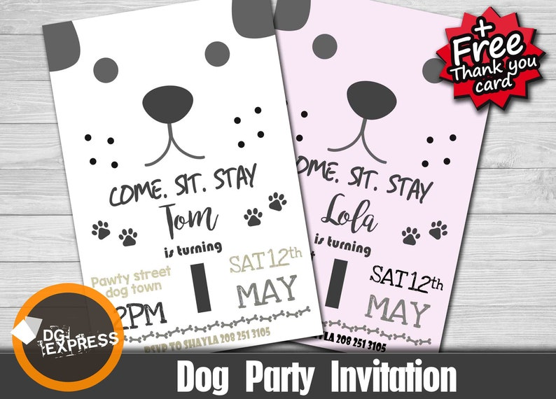 Dog Party Invitation DOG BIRTHDAY