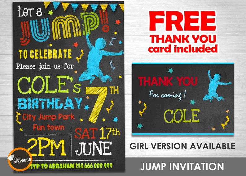 Jump Invitation Boy Trampoline Birthday Party Etsy