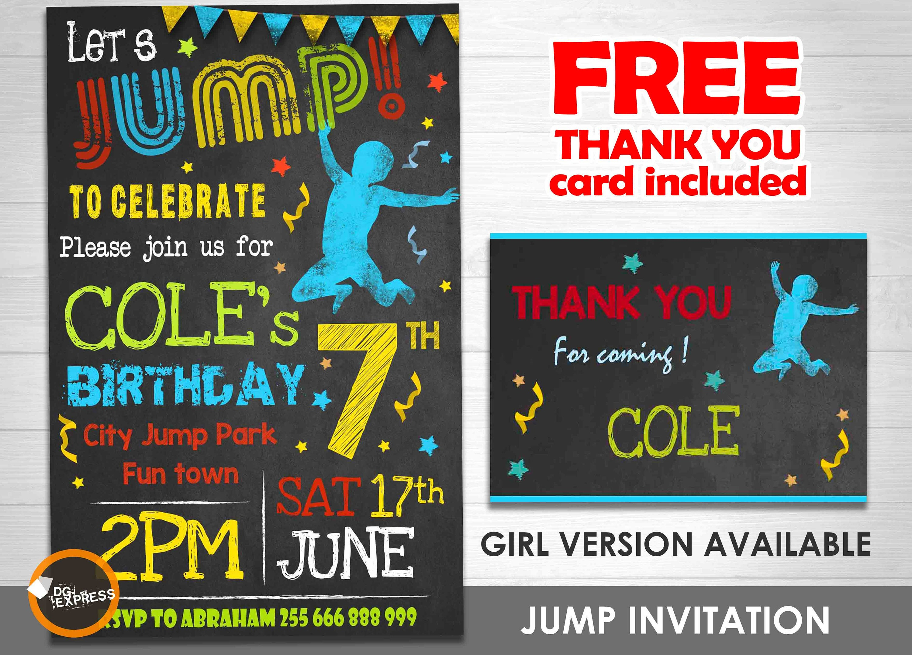 Jump Invitation Boy TRAMPOLINE BIRTHDAY Party