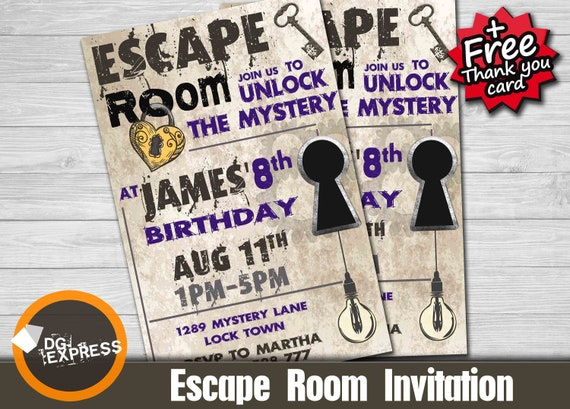 image regarding Free Escape Room Printable known as Escape Place Invitation - \