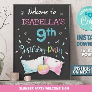 Digital Sleepover Birthday Instant Download Sleepover boy Party Birthday Welcome Sign Poster SLEEPOVER PRINTABLE Birthday Sign