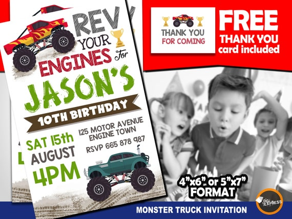 graphic regarding Monster Truck Birthday Invitations Free Printable identified as Monster Truck Invitation, Monster Truck Birthday Invitation