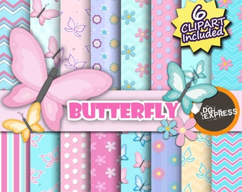 "Butterfly Digital Paper + Clipart : ""Butterfly Digital Paper"" - Rainbow Butterflies, Pastel Nursery Decor, Borboleta Mariposa, Printable"