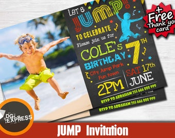 "Jump Invitation - photo ""TRAMPOLINE BIRTHDAY Party Invitation"" Trampoline Party, Jump Girl Boy Digital Jumping Park Invite, Jump Printable"