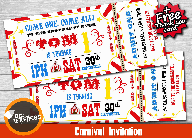 Carnival Invitation CARNIVAL BIRTHDAY