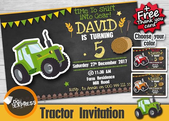 Traktor Geburtstag Einladung Traktor Einladung Etsy