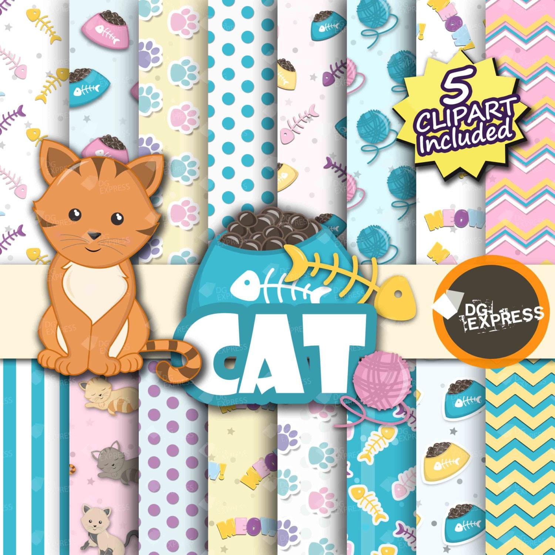 Cat Digital Paper Clipart : Cat Digital Paper | Etsy