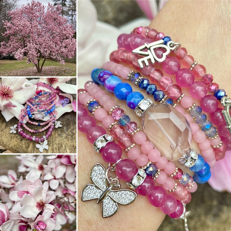 Pink Bracelet,Pink Agate Bracelet,Purple Bracelet,Purple Agate Bracelet,Pink Gemstone Bracelet,Butterfly Bracelet,LOVE Bracelet
