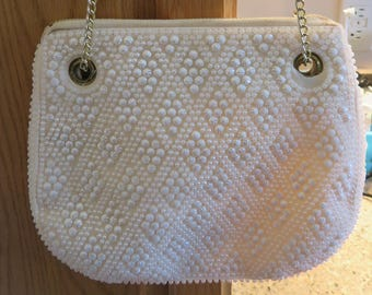 "WEDDING / Evening Bag, IVORY BEAD, Shoulder/Hand Chain, Vintage, 8.5"" Long, 7.5"" Depth (#23J)"