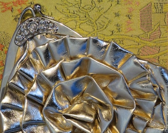 "CLUTCH, Gold Ruffled LAME Colour, Rhinestones, Kiss Clasp, Small, 7"" x 6.5"" (#32J)"