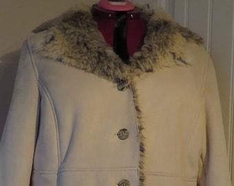 Vintage Faux FUR PENMAN's Plus, Shearling Type Coat, Lined & Trimmed with Faux Fur, Size 3X (#5)