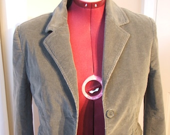 Vintage Green CORDUROY Jacket Blazer, Cotton/Spandex, Lined, Size Small  (#257)