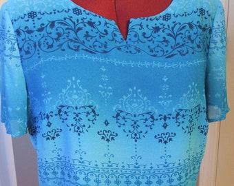 Plaza South TOP BLUE Tones, Short Sleeves, Lined, Medium (#122)